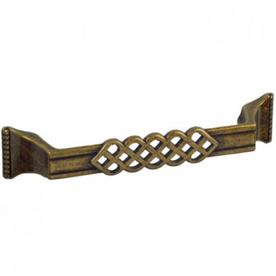 Ручка мебельная 289 128 мм старая медь
